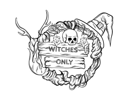 Vector illustration of witching wreath with horns, skull, hat, candles, wooden tablets with lettering