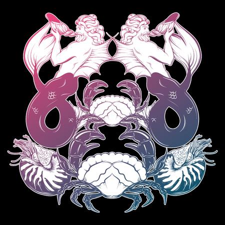 Vector illustration dessinée à la main de triton, mollusque Nautilus, crabe dans un style de ligne réaliste. Illustration de mythologie. Art de tatouage avec composition symétrique. Modèle pour l'affiche de carte postale pour t-shirt. Banque d'images - 77618757