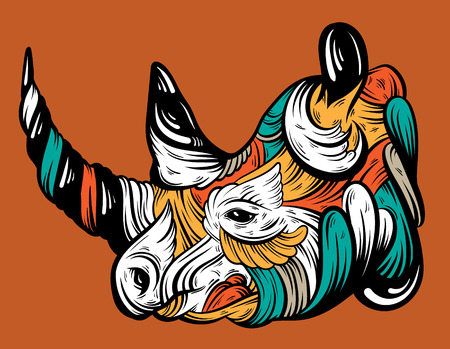 Vector hand drawn  illustration of rhino with decorative elements. Artwork in boho style. Hand sketched portrairt of animal. Template for card poster banner print for t-shirt.
