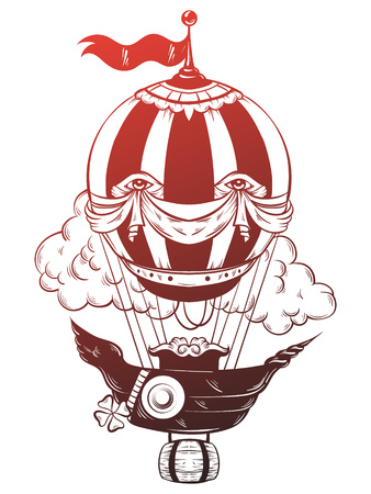 Vector hand drawn illustration of air balloon with clouds. Tattoo artwork. Template for card, poster, banner, print for t-shirt.