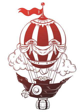 Vektor Hand gezeichnet Illustration der Luft Ballon mit Wolken. Tätowierungsgrafik Schablone für Karte, Plakat, Fahne, Druck für T-Shirt.