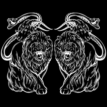 Vector illustration of chimera made in hand drawn style. Mythological magic religion victorian motif, tattoo design element. Heraldry and logo concept art. Template for card poster banner print for t-shirt. Illustration