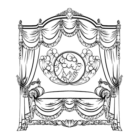 Vector illustration of baroque bed with baldachin and moon with face and clouds made in hand drawn sketch style. Beautiful furniture design. Template for business car, poster, banner, print, placard. Illustration
