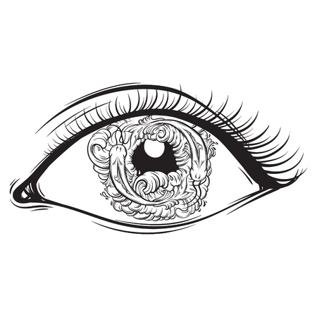 Vector creative illustration of eyes with fish and waves in pupil made in hand drawn style. Cute line artwork. Trendy template for card, poster, banner, print for t-shirt.