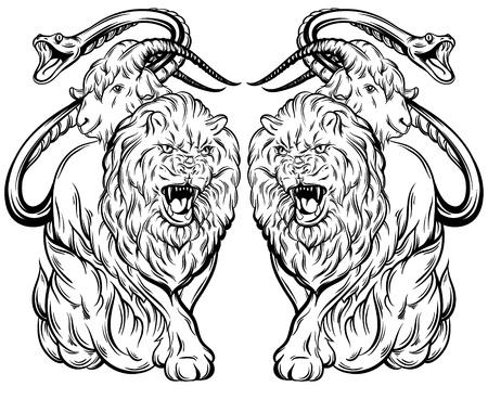Vector illustratie van chimera gemaakt in hand getekende stijl. Mythologische magische religie victorian motief, tattoo ontwerp element. Heraldiek en logo concept kunst. Sjabloon voor kaartafdruk banner print voor t-shirt. Stock Illustratie