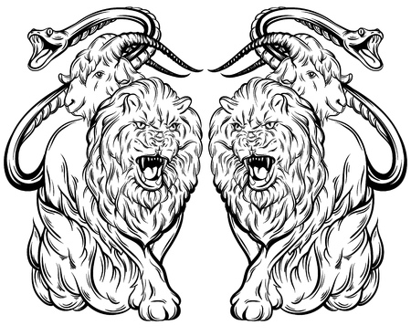 Vector illustration of chimera made in hand drawn style. Mythological magic religion victorian motif, tattoo design element. Heraldry and logo concept art. Template for card poster banner print for t-shirt. 向量圖像