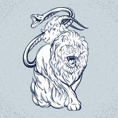 Vector illustration of chimera made in hand drawn style. Mythological magic religion victorian motif, tattoo design element. Heraldry and logo concept art. Template for card poster banner print for t-shirt. Ilustração