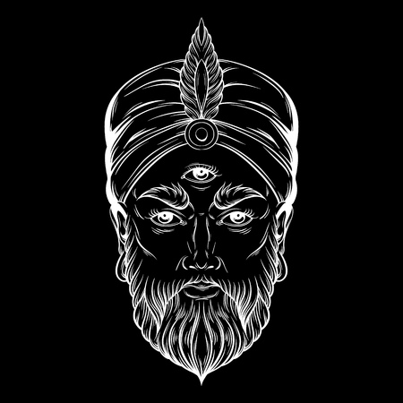 parapsychology: Vector hand drawn illustration of fortune teller with three eyes. Hand sketched creative artwork. Template for card poster, banner, print for t-shirt. Tattoo art.