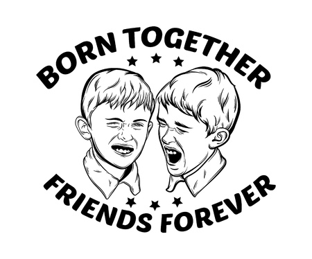 for boys: Quote typographical background about siblings with illustration of little funny  emotional boys made in hand drawn realistic style. Template for card poster banner print for t-shirt.