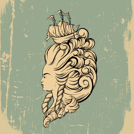 wig: Vecor illustration of woman head with beautiful hairstyle with ship and waves. Tattoo artwork in baroque style. Realistic portrait of queen. Template for card, poster, banner, print for t-shirt.
