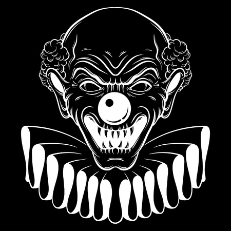 Vector hand drawn  illustration of angry clown. Tattoo artwork in realistic line style. Portrait of ugly clown.  Template for card, poster, banner, print for t-shirt. Illustration