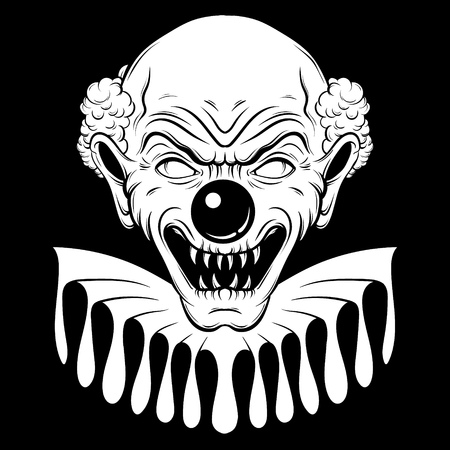 Vector hand drawn  illustration of angry clown. Tattoo artwork in realistic line style. Portrait of ugly clown.  Template for card, poster, banner, print for t-shirt. Çizim