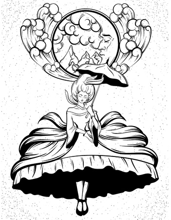 Vector hand drawn illustration of flying  woman in dress with crioline and umbrella. Tattoo surreal artwork. Template for card, poster, banner, print for t-shirt. Ilustrace