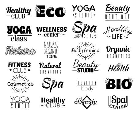 Collezione vettoriale di logo e etichette, badge per una vita sana con elementi decorativi. Modello per crad, poster, banner, stampa per t-shirt, cartellone, volantino.