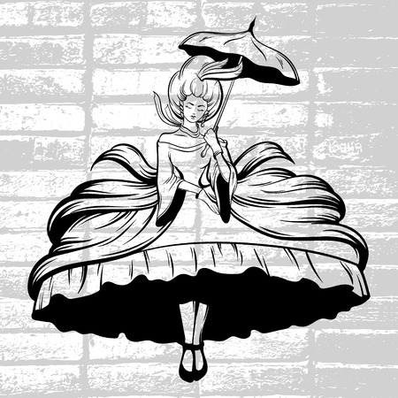 Vector hand drawn illustration of flying  woman in dress with crioline and umbrella. Tattoo surreal artwork. Template for card, poster, banner, print for t-shirt. Illustration