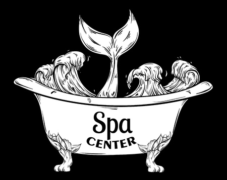 fish tail: Spa center. Vector hand drawn illustration of bath with ocean waves and tale of fish. Creative surreal artwork. Tattoo art. Template for card poster banner print for t-shirt.