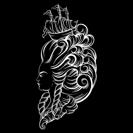 Vecor illustration of woman head with beautiful hairstyle with ship and waves. Tattoo artwork in baroque style. Realistic portrait of queen. Template for card, poster, banner, print for t-shirt.