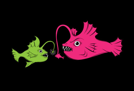fish tail: Vector illustration with hunting fish. Creative  funny artwork made in hand drawn style. Template for card, poster banner, print for t-shirt. Illustration