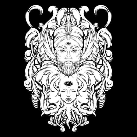 Vector hand getrokken illustratie van waarzegster met drie ogen. Hand geschetst creatief kunstwerk met barokke en bloemenmotieven. Sjabloon voor kaart poster, banner, afdrukken voor t-shirt. Tattoo kunst.