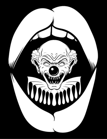 Vector hand drawn  illustration of angry clown in open screaming mouth. Tattoo artwork in realistic line style. Portrait of ugly clown.  Template for card, poster, banner, print for t-shirt.