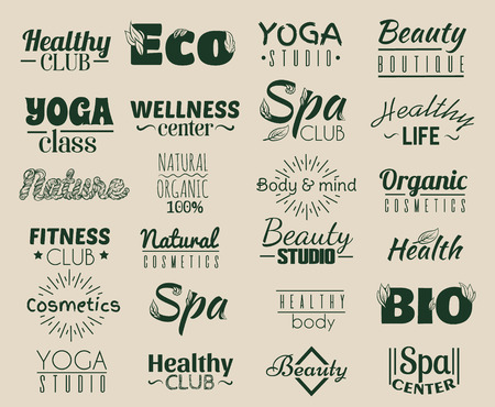 meditation man: Vector collection of logo and labels, badges for healthy life with decorative elements. Template for crad, poster, banner, print for t-shirt, placard, flyer. Illustration