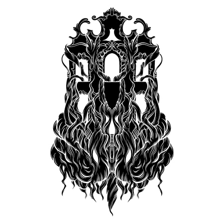 Vector illustration of house with roots made in hand drawn style. Trendy artwork. Tattoo art. Template for coloring book,  card, poster, banner, print for t-shirt.