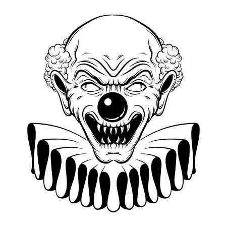 Vector illustration dessinée à la main de clown en colère. Illustrations de tatouage dans un style de ligne réaliste. Portrait d'un clown laid. Modèle pour carte, affiche, bannière, imprimé pour t-shirt. Vecteurs