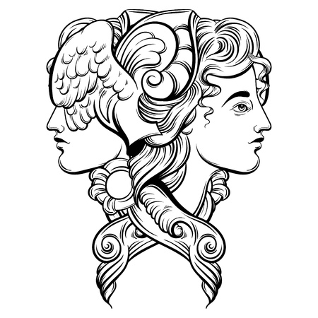 Vektor-Illustration von Hermes. Handgezeichnetes Kunstwerk mit Porträt von Hermes mit Flügeln und dekorativen Elementen. Schablone für Karte, Plakat, Fahne, Druck für T-Shirt. Standard-Bild - 77834062
