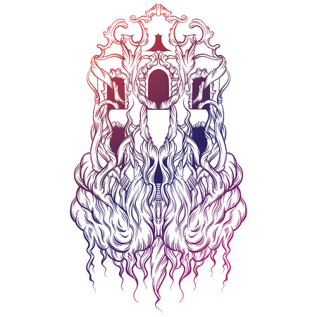 unreal: Vector illustration of house with roots made in hand drawn style. Trendy artwork. Tattoo art. Template for coloring book,  card, poster, banner, print for t-shirt.