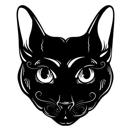 Vector hand drawn ilustration of cat. Character design. Artwork with portrait of mystical elegant cat. Egyptian, spirituality, boho design. Template for card, poster, banner, print for t-shirt. Ilustração