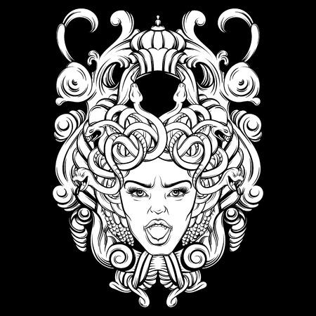 Ilustración vectorial de gorgone con marco barroco hecho a mano dibujado estilo. Diseño de personaje. Tatuaje y arte mitológico. Plantilla para la tarjeta, cartel.