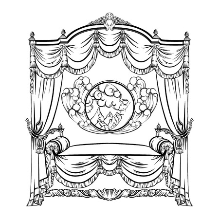 Vector illustration of baroque bed with baldachin and moon with face and clouds made in hand drawn sketch style.