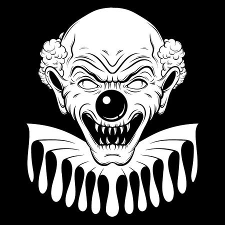 Vector hand getekende illustratie van boze clown. Tattoo kunstwerk in realistische lijn stijl. Portret van lelijke clown. Sjabloon voor kaart, poster, banner, print voor t-shirt.