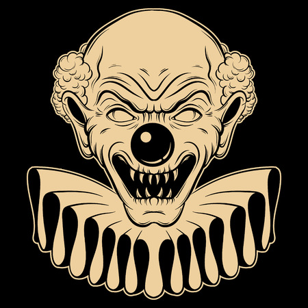 Vector hand drawn  illustration of angry clown. Tattoo artwork in realistic line style. Portrait of ugly clown.  Template for card, poster, banner, print for t-shirt. Ilustração