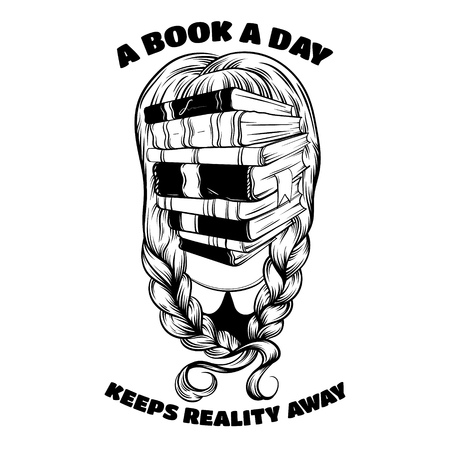 anonymity: A book a day keeps reality away. Quote typographical background. Vector illustration of girl with  books instead face made in hand drawn style.  Template for card, poster, banner, print for t-shirt. Illustration