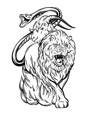 Vector illustration of chimera made in hand drawn style. Mythological magic religion, victorian motif, tattoo design element. Heraldry and logo concept art. Template for card poster print for t-shirt.