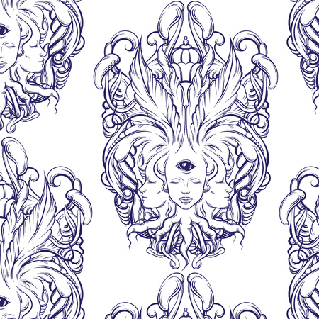 bifurcation: Vector pattern with illustration  of fortune teller  with three heads,  eyes, floral baroque frame. Floral surreal artwork made in hand drawn line style. Template for card, poster, banner, print for t-shirt. Illustration