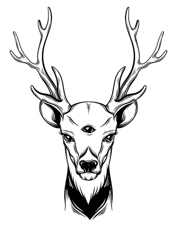 Hand drawn beautiful hand sketched deer. Illustration of deers  portriat with tree eyes. Alchemy, religion, spirituality, occultism, tattoo art, coloring books. Template for card, poster, banner, print for t-shirt. Illustration