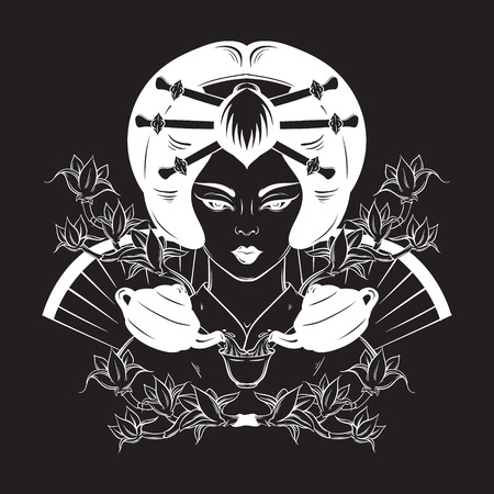 japenese: Vector hand drawn illustration of Japenese with cup of tea. Portrait of young woman in traditional attire. Creative artwork about tea ceremony. Template for card poster banner print for t-shirt.