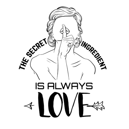 Vector quote typographical background about love with illustration of woman without eyes and finger made in hand drawn style. Line artwork. Template for card, poster.