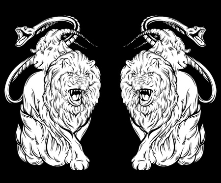 Vector illustration of chimera made in hand drawn style. Template for card poster banner print for t-shirt