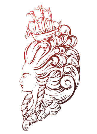 vecor: Vecor illustration of woman head with beautiful hairstyle with ship and waves. Tattoo artwork in baroque style. Realistic portrait of queen. Template for card, poster, banner, print for t-shirt.
