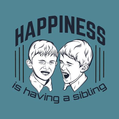 Cita el fondo tipográfico sobre hermanos con la ilustración de los pequeños muchachos emocionales divertidos hechos a mano dibujaron estilo realista. Plantilla para la tarjeta, cartel.