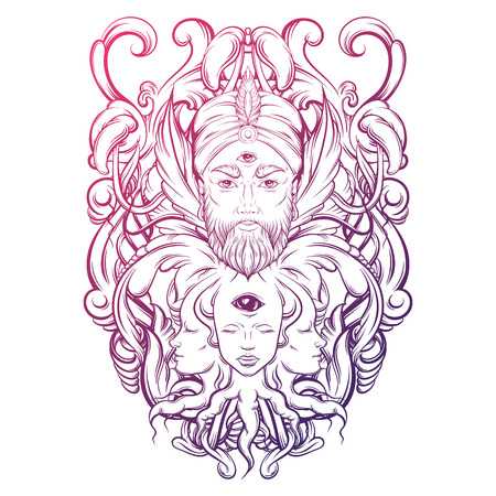parapsychology: Vector hand drawn illustration of fortune teller with three eyes. Hand sketched creative artwork with baroque and floral motives. Template for card poster, banner, print for t-shirt. Tattoo art.