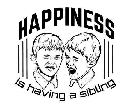 Citar antecedentes tipográficos sobre hermanos con ilustración de pequeños muchachos emocionales divertidos hechos a mano estilo realista dibujado. Plantilla para tarjeta, póster.