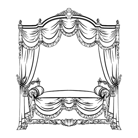 Vector illustration of baroque bed with baldachin made in hand drawn sketch style. Beautiful furniture design. Template for business car, poster, banner, print, placard.