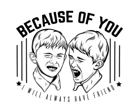 Citar antecedentes tipográficos sobre hermanos con ilustración de pequeños muchachos emocionales divertidos hechos a mano estilo realista dibujado. Plantilla para la impresión de pancarta de cartel de tarjeta para la camiseta.