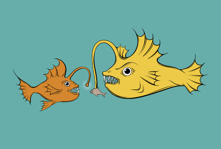Vector illustration with hunting fish. Creative  funny artwork made in hand drawn style. Template for card, poster banner, print for t-shirt. Illustration