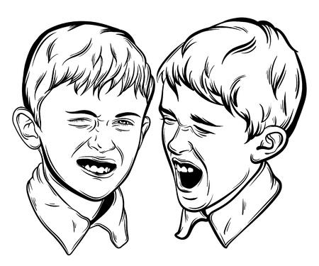 Cita tipográfica sobre los hermanos con la ilustración de los pequeños muchachos emocionales divertidos hechos a mano dibujaron estilo realista; plantilla para la impresión de la bandera del cartel de la tarjeta para la camiseta.