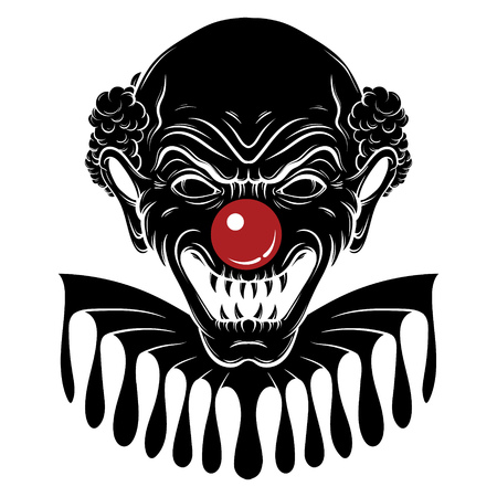 Vector hand drawn  illustration of angry clown. Tattoo artwork in realistic line style. Portrait of ugly clown.  Template for card, poster, banner, print for t-shirt.  イラスト・ベクター素材